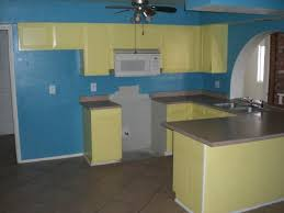 painted blue kitchen cabinets house: kitchen blue paint wall yellow cabinets phoenix home house real