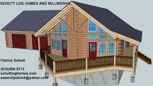 oak log cabins: image chalet garage front drawing edit image