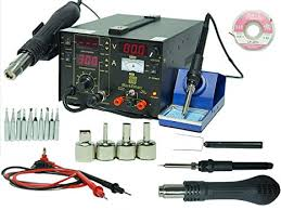 3-in-1 <b>Soldering</b> Iron Rework Station Hot Air Gun <b>853D</b> DC 10 Tips ...