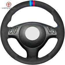 LQTENLEO <b>Black Artificial Leather Hand stitched</b> Steering Wheel ...