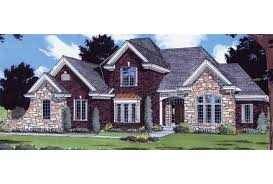 Eplans French Country House Plan   Stone and Brick Exterior      Front