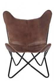 Lounge <b>butterfly stool</b> leather brown or <b>black</b>