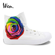 <b>Wen</b> Colorful Rose Original Design Women Girls Sneakers White ...