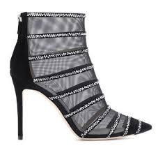 <b>Sexy Black</b> Mesh Suede Booties Caged <b>Crystal Embellished</b> High ...
