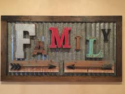 wood sign glass decor wooden kitchen wall: rustic family sign made from vintage letters and old corrugated metal  wide by