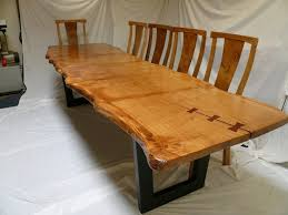 wood slab dining table beautiful: pippy oak slab table with metal base