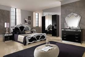 awesome classic design style of bedroom with luxury black and silver queen bed plus vanity cabinet black white style modern bedroom silver