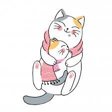 <b>Cartoon cute winter</b> mother and <b>baby</b> cats Vector | Premium Download