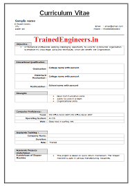 download resumes format for trainee engineers freshers resume format for quality engineer