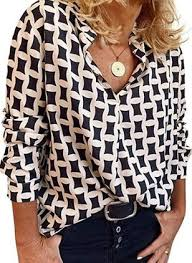 <b>Geometric Casual</b> Collar <b>Long</b> Sleeve Blouses - Floryday