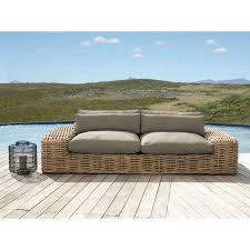 2/<b>3-seater garden sofa</b> in rattan with taupe cushions St Tropez ...