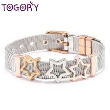 High Quality Rose Gold Color <b>Stainless Steel</b> Mesh Bracelet Love ...