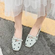 Buy <b>Women's</b> Flats <b>Square</b> Toe Bow Polka Dots All Match Casual ...