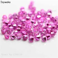 Isywaka New Pink Color <b>100pcs 4mm</b> Bicone <b>Austria</b> Crystal Beads ...