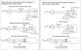 wire diagram for taco zone valves for hydronic heating systems hydronic heating taco zone sentry zone valves wiring example coverting from a honeywell zone valve or