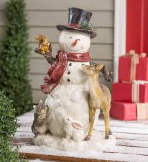 Woodland Snowman Statue with Animals | Wind and Weather