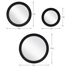 Mainstays 5-Piece Circle <b>Mirror Set</b>, <b>Black</b> Finish, 7 Inch, 9 Inch, and ...