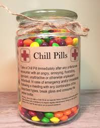 chill pill for various themes glass apothecary jar funny gag gift amusing create design office space