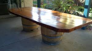 a simple wine barrel dining table arched napa valley wine barrel table