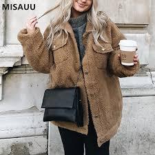 <b>Misauu</b> Fleece Faux Shearling Fur Jacket Coat <b>Women Autumn</b>...