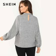 Online Shop SHEIN <b>Plus Size</b> Pearl Beaded Long <b>Lantern</b> Sleeve ...