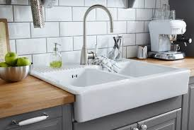 white double bowl farm sink with stainless steel color single lever kitchen faucet apron kitchen sink