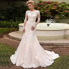 <b>SOFUGE</b> Elegant Long Sleeves Lace Wedding Dress Lace Up Back ...