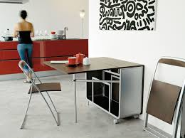dining table with wheels:  modern portable folding dining table with wheels and folding chair storage inside for saving small dining