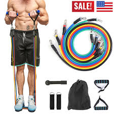 <b>11 Piece Set Resistance Bands</b> Exercise <b>Yoga</b> Fitness Tubes Indoor ...