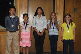 FRA S M s Baum  Rogers and Hemmingway with essay contest winners Katherine Dyke  and Joseph Johnson