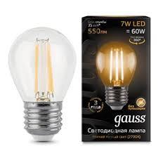 Светодиодная <b>лампа Gauss LED Filament</b> Globe E27 7W 2700K 1 ...