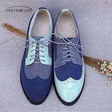 <b>Women genuine leather oxford</b> shoes woman flats handmade ...