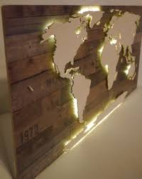 world map xxl made of wood with lighting vintage look with led aussie lighting world
