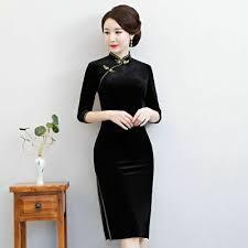Cheongsam <b>Chinese Dress</b> Women's Velour <b>Qipao</b> Slim Party ...