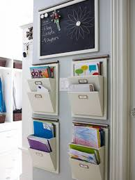 utilizing small home office spaces using 4 hanging file mail or magazine organizer with 2 pockets under mini blackboard message ideas nice wall hanging office organizer 4