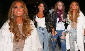 Jennifer Lopez leaves Hard <b>Rock</b> Stadium with <b>Shakira</b> and Demi ...