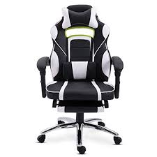 EUCO Gaming Chair with Footrest,White <b>Racing</b> Style <b>Reclining</b> ...