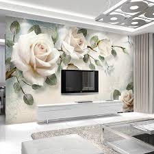 Custom Any Size Mural <b>Wallpaper European Style</b> White <b>Flowers</b> Oil ...
