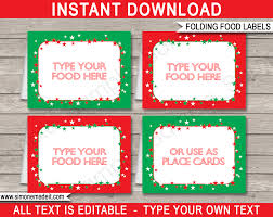 christmas party food labels place cards christmas decorations christmas party food labels template christmas party place cards diy editable printable template