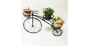 3 Tier Metal <b>Plant Stand</b> Garden <b>Planter Holder</b> Flower <b>Bicycle</b> ...