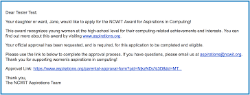 in computing approval step by step guide ncwit if you did not receive an e mail from org have your daughter ward follow the on screen instructions on her dashboard to resend the e mail to