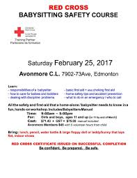 avonmore community league babysitter registry we also host the red cross babysitter course annually this year the program will be offered on 25th 2017 see poster