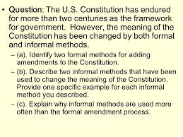 writing for the ap government exam  types of ap essays   formal    question  the u s  constitution has endured for more than two centuries as the framework for