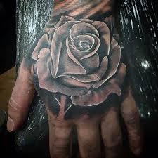 Awesome Black <b>Rose</b> Tattoo On Hand For <b>Men</b> #rosetattoosonneck ...