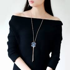 Four <b>Leaf Clover Shape</b> Sweater <b>Necklace</b> for Woman (With images ...