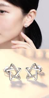 <b>Fashion</b> Shining Star Silver Cute <b>Zircon</b> Star <b>Hollow</b> Earring Studs in ...
