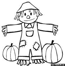 Small Picture Fall Scarecrow and Pumpkins Coloring Page Coloring Book Pages