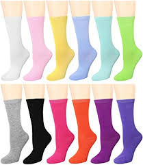 <b>12 Pairs Women's Cotton</b> Crew Socks Assorted Colors