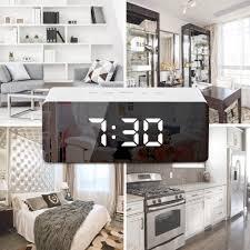 Cool Modern <b>LED Mirror</b> Bedside Digital Alarm <b>Clock</b> Home Decor