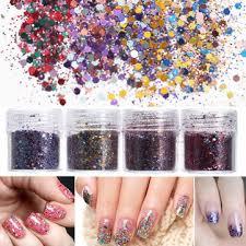 <b>4 pots 10ml nail art</b> glitter powder sheet sequins sparkly colorful ...